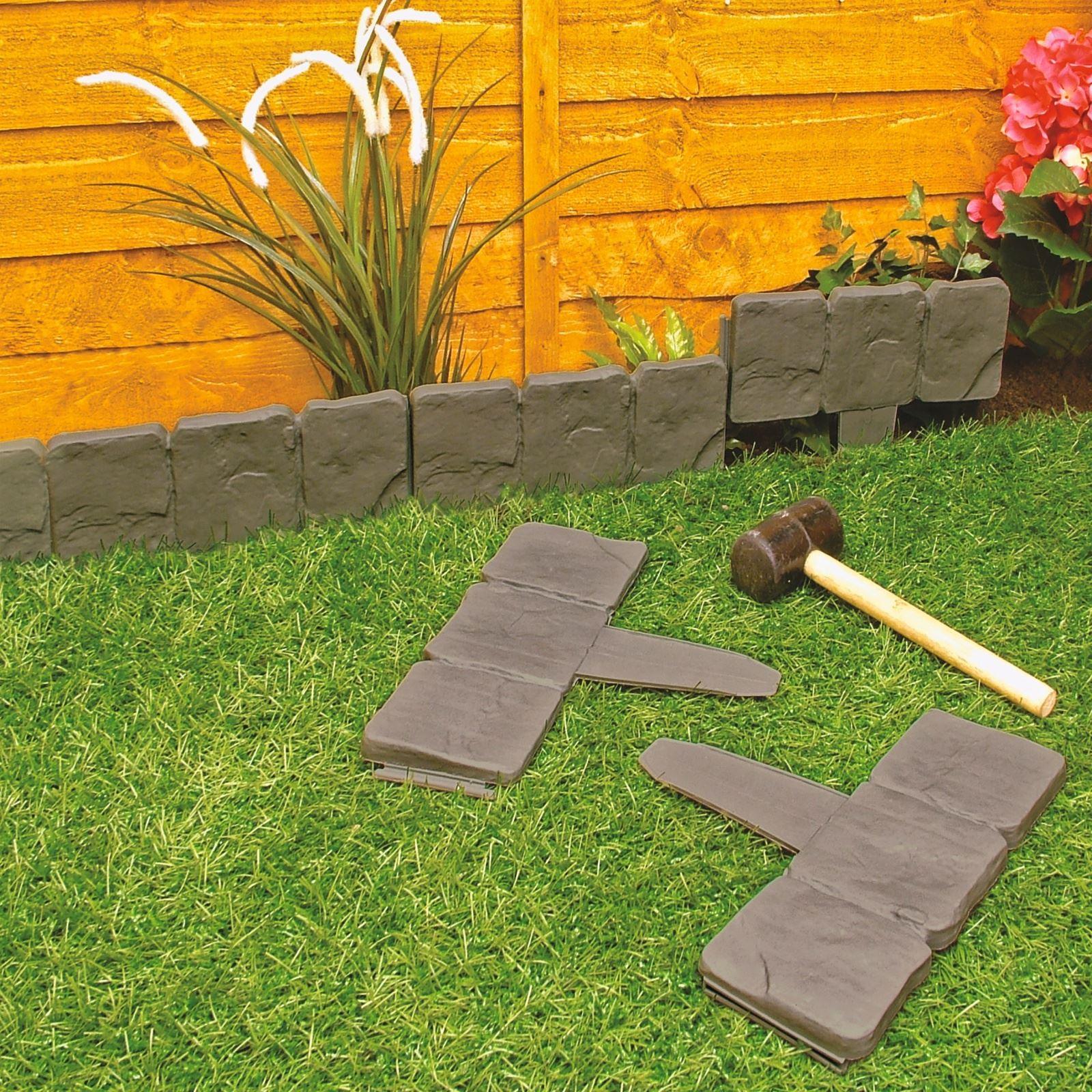 Image of: Garden Lawn Edging Flower Bed Border Grey Cobble Stone Effect Burwells 5053335605834 Ebay