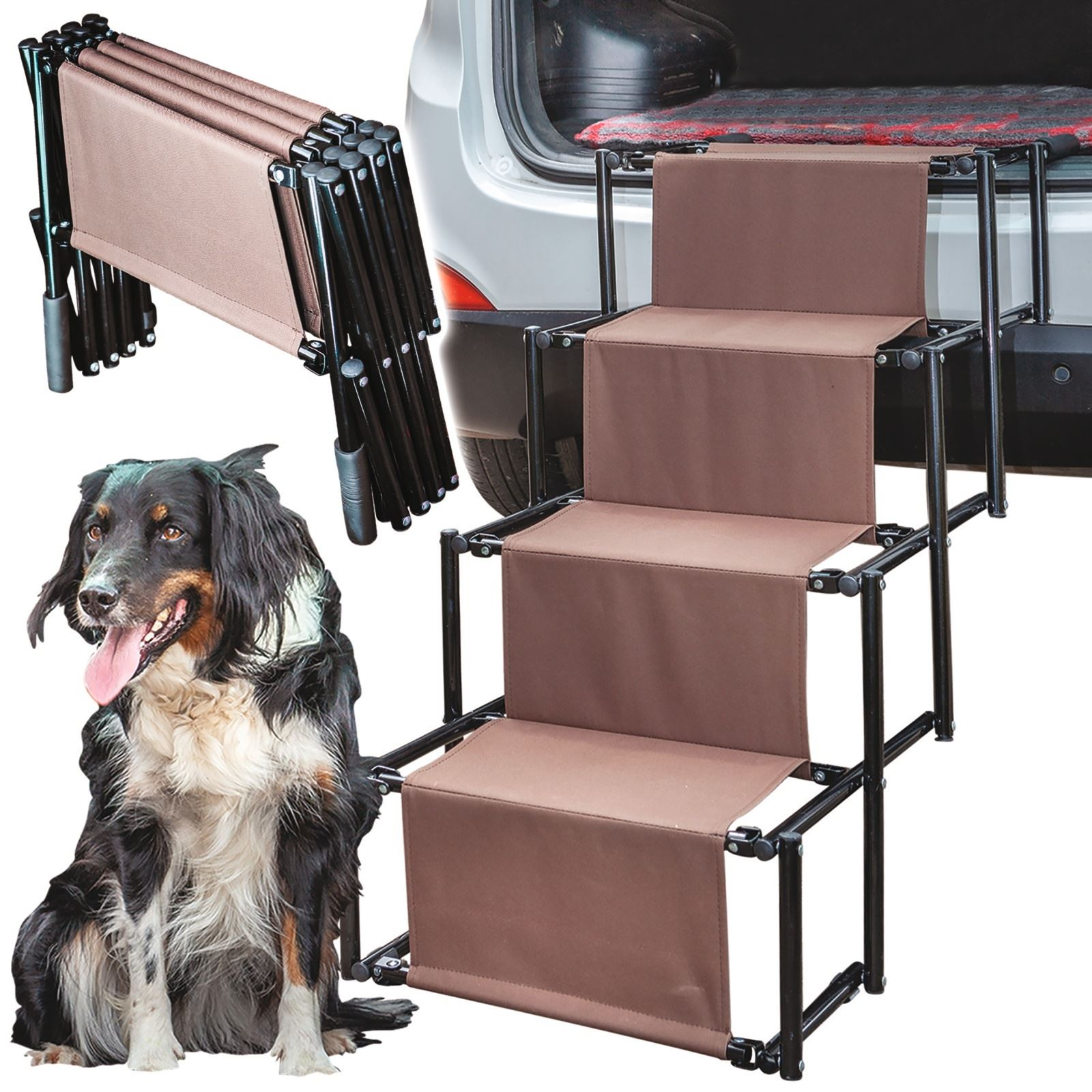 Folding Dog Pet Steps Ramp Stairs For Car Boot Portable