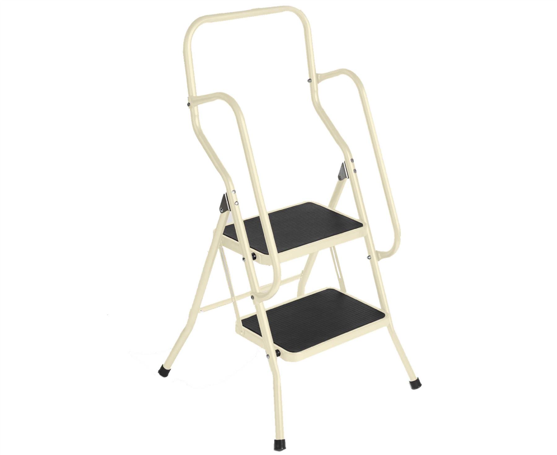 2 Step Safety Ladder Buttermilk Foldable Non Slip Tread